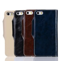 Wholesale Iphone Fashion Button - For iPhone 5 5S 6 6S Plus Genuine Leather Flip Case Cover With Card Slot Metal Button Wallet Bag Fashion Quality