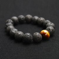 Wholesale Food Tigers - Wholesale Black Volcanic Lava Stone Tiger Eye 12mm Beaded bracelet For Men Fashion personality Jewelry wholesale