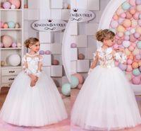 Wholesale Tutu Models Children - Custom Made Flower Girl Dresses for Wedding White Princess Tutu Handmade Flower Appliqued Lace Long Sleeve Child First Communion Dresses