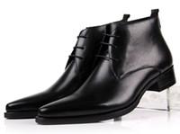 ingrosso stivaletto in pelle marrone-All'ingrosso-Large size EUR46 scarpe da uomo a punta scarpe da uomo marrone / nero stivaletti da uomo scarpe da sposa in vera pelle da uomo