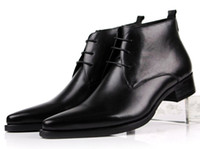 spitzleder mens stiefeletten großhandel-Großhandels- Großverkaufs-Schuh-Schuhe der Spitzes Men46 keucht die braunen / schwarzen Mens-Ankle-Boots, die Schuhe echte lederne Mens-Geschäftsschuhe heiraten
