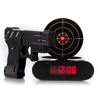 Wholesale Alarm Pistols - Pistol Targeting Infrared USB Alarm Clocks   LCD Digital Clocks   Desk Clock   Gun Clock Shooting Games Gaming with Recording Function