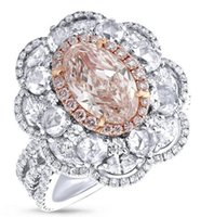 Wholesale Gia Certified Oval Diamond Ring - Oval Cut VVS2 Natural Light Pink Diamond GIA Certified 18K White Gold Ring