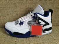 Wholesale Mens Leather Hiking Boots 12 - 2017 Air Retro 4 IV Basketball Shoes For Men,Blue White Motosports AAA Quality Mens Sport Shoes Retros 4s Trainers Athletic Sneakers 7-12