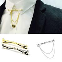 corbata de palo al por mayor-Cadena de plata dorada Cabeza de bola Hombre de negocios Alfiler de corbata Broche Corbata Palo Lapen Pin Camisa con collar Barras Joyas Corbatas de boda