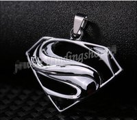 Wholesale New Superman Man Steel - 2017 New Gift Unisex's Men Silver Stainless Steel Superman Pendant Necklace Chain
