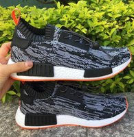 Wholesale Women Summer Knitted Boots - Black Orange NMD Runner Ultra Boost Men's Women Running Shoes Knitting Summer Sneakers Shoes Low Size 36-45