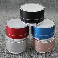 Wholesale Wholesale Speakers Subwoofers - Mini Wireless Bluetooth Speaker Modern Aluminum Alloy Cylinder Speakers Subwoofers TF Card Mini wireless Bluetooth Speakers A10