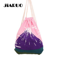 Wholesale Canvas Mounting - Wholesale- Fresh Mount Fuji Printing Drawstring Backpack Women Girls Shoulder Bag Canvas Beach Bag Small Mini Travel Storage Bag Beam Port
