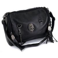 Wholesale Crossbody Bags Skulls - Wholesale-Portable Women Vintage Shoulder Bag Skull Rivet Tassel Lady Crossbody Satchel Messenger Bucket Motorcycle Bags Tote Big Capacity