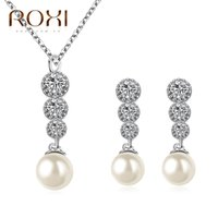 Wholesale Pearl Pendant Jewellery Sets - ROXI Charms Rhinestone Earrings Long Necklace Imitation Pearl Pendant Jewelery Set White Gold Plated Jewellery Gift