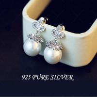 Wholesale Needle Sterling - Pearl earrings 925 sterling silver needle Zircon earring The wedding gift Employee benefits