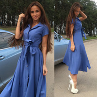 Wholesale types collars dresses - Slits plus size maxi summer dresses sexy single-breasted maxi dress 5 colors women clothes large swing type casual dresses for women