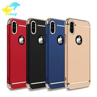 Wholesale Plastic Cover For Mobile - Luxury 3 In 1 Electroplating Plastic Hard Back Case For Iphone6 7 8 Plus X samsung s7 s8 s8 plus All Around Protect Cover Mobile Phone Cases