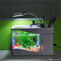 llevó las luces del tanque de pescado caliente al por mayor-¡Gran venta! Acuario negro / blanco del acuario de peces con luz LED Acuario USB Fish Tank para decoración de vacaciones en el hogar