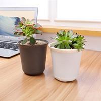 ingrosso dimensioni del vaso da giardino-2017 NUOVO ARRIVO Vasi di plastica per piante 5 diverse dimensioni strisce Matting Face Garden Pot per fiori, piante, piante grasse