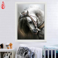 Wholesale Framed Embroidery - YGS-222 DIY 5D Diamond Embroidery Horse Round Diamond Painting Cross Stitch Kits Mosaic Painting Home Decoration