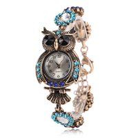 Wholesale Vintage Owl Watch - New Vintage Quartz Watches Luxury Brand Owl Bracelet Watch Fashion Women Gold Plated Designer Watches Beautiful Girl Gift Watch