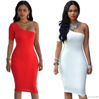 Wholesale Tight One Shoulder White Dress - Europe and the temptation of sexy tight Halter nightclub party knee sleeve dress single pencil skirt black red white SMR09
