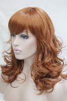 Wholesale orange wigs curly - Hivision 2017 New charming fashion charming orange brown medium length curly women's bangs wig hair wigs