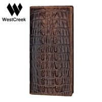 Wholesale cheap passport - Wholesale- Unique Design Crocodile pattern Genuine Leather Men Long Wallet Cheap by GMW004