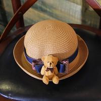 Wholesale Little Bear Hat - Mother and daughter hat hot sell fisherman sunhats girls bows little bear children crochet sun shade summer girls princess hats T2298