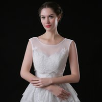 Wholesale Shrug White Sequin - 2017 New Arrival Top Sale Iluusion Neck Lace Sequined Bolero Jacket Bridal Wedding Shawl Wraps with Buttons Bridal Shrug White Custom Made