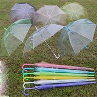 Wholesale Clear Plastic Umbrellas Wholesale - 2017 Transparent Clear EVC Umbrella Dance Performance Long Handle Umbrellas Beach Wedding Colorful Umbrella for Men Women Kids Christmas