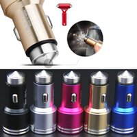 Wholesale Car Lighter Aluminium - 2 in 1 Aluminium Dual USB Car Charger Stainless Steel Emergency Hammer 5V 2.1A Cigarette Lighter Chargers for iPhone 5 6 Samsung