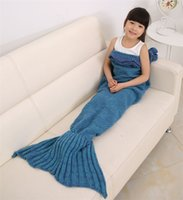 Wholesale 140x70cm Children Fashion Knitted Mermaid Tail Blanket Super Soft Warmer Blanket Bed Sleeping Costume Air condition Knit Blanket