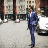 Wholesale Suit Buttons For Sale - Hot Sale 3 Piece (Jacket+Pants+vest) Blue Business Mens Suits Wedding Tuxedos Groomsmen Best Man Suit Formal Suit for Men