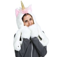 Wholesale Wholesale Scarves Hats Gloves - Unicorn Hat Scarves Gloves 3 in 1 Adult Party Christmas Halloween Echarpe Winter Warm 3D Animal Hoodies LJJO3181