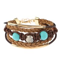 Wholesale Woven Beaded Bracelets Rhinestones - 2017 new fashion Vintage weave ethnic boho Cuff Bracelet big beads gem crystal bracelet bangles for women Jewelry wholesale Free shipping