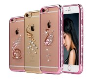 Wholesale peacock rhinestone iphone case - Ultra thin soft TPU Bling Rhinestone Swan Owl Peacock Electroplate Diamond Case Coque cover For iPhone 5s 6 6s plus 7 7 plus