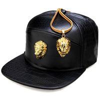 Wholesale high fashion music - Wholesale- High Quality Fashion Snapback PU Hats Lion Head Men Women Hip Hop Full Cap Skateboard Baseball Rock Rapper Music Men Bone