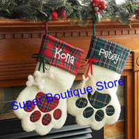 Wholesale Bag Red Cat - Free shipping 2017 newest arrival hot selling Sherpa paw stocking Dog and Cat paw stocking 2 colors stock Chistmas gift bags decoration