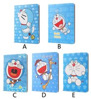 manzana doraemon al por mayor-Funda para ipad 2 3 4 Cartoon Doraemon PU cubierta de cuero para apple ipad2 ipad 3 ipad 4 funda protectora de tableta