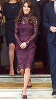 Wholesale Kate Middleton Sheath Dress - 2016 Kate Middleton red carpet celebrity dress lace long sleeve high neck zipper back mother of the bride dresses knee length groom gowns