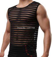 erkek seksi kıyafetler toptan satış-Toptan-Erkekler Seksi Erkek Seks Iç Çamaşırı Şerit Eşcinsel Giyim See Through Mesh Gömlek Adam Elbise Fanila Yelek Tankı Üstleri