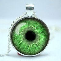 Wholesale Glass Evil Eye Necklace - 10pcs lot Light Green Eye Necklace, Third Eye Jewelry, Evil Eye Pendant Glass Cabochon Necklace 6