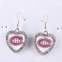 Wholesale Ice Hockey Earrings - NHL Montreal Canadiens Heart Earrings Ice Hockey Charms With Crystals Earrings for Women Jewelry Fashion Long Earrings