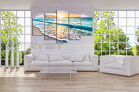 Wholesale Cheap Framed Decorations - 5 panel waves landscape painting canvas mural art home decoration living room canvas print modern painting - big canvas art cheap