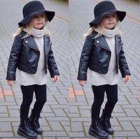 Wholesale black leather jacket size 12 - Girl's Faux Leather Look Jacket Size 2 - 7 Motorcycle Biker Coat Overcoat PU Leather Jacket Baby Girls Short Children Jacket