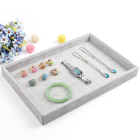 Wholesale Display Tray Necklace - Fashion Gray Jewelry Display Tray Bracelet Holder Ring Earring Case Necklace Pendant Shelf Jewelry Display Storage Box