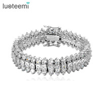 Wholesale Holiday Tennis - LUOTEEMI Top Luxury Wedding Bracelet 3 Rows AAA+ Top Quality Zircon Stones Paved Wedding Bracelet Bangles for Women