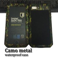 Wholesale Waterproof Case Glass Screen - camo metal waterproof shockproof case magnalium cellphone back cover with 9h tempered glass screen protector for IP 5s 6 7 7plus