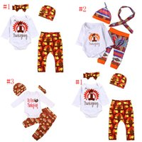 Wholesale Wholesale Clothing Turkey - Thanksgiving cotton Baby girls Clothing Set Turkey Printed Kids outfits Spring Autumn Turkey Printed Baby suits C2830