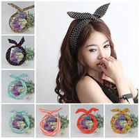1Pc Cute Leopard Dots lèvres d'impression fleur Lapin Lapin Ear Ribbon Headwear Hairband Metal Wire Scarf Headband Hair Band Accessoires