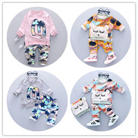 Wholesale Babys Clothes Free Shipping - Cute kids clothing sets babys camouflage alphabet suit 1-3 years children dress apparel and pants cotton materials free shipping