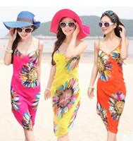 Wholesale Wholesale V Neck Wrap Dress - DHL Fashion Women Sexy Summer Bikini Chiffon Wrap Floral Print Pareo Boho Dress Sarong Beach dresses Bikini Swimwear Cover Up Scarves
